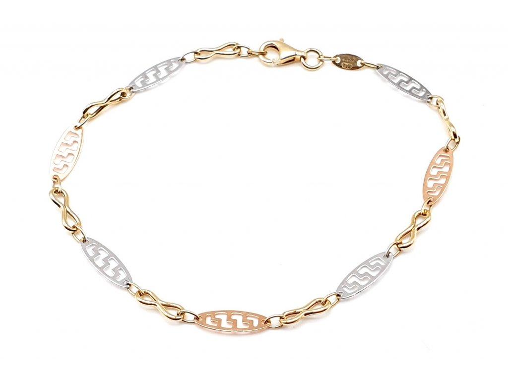 Infinity tri-colour zlatý náramek