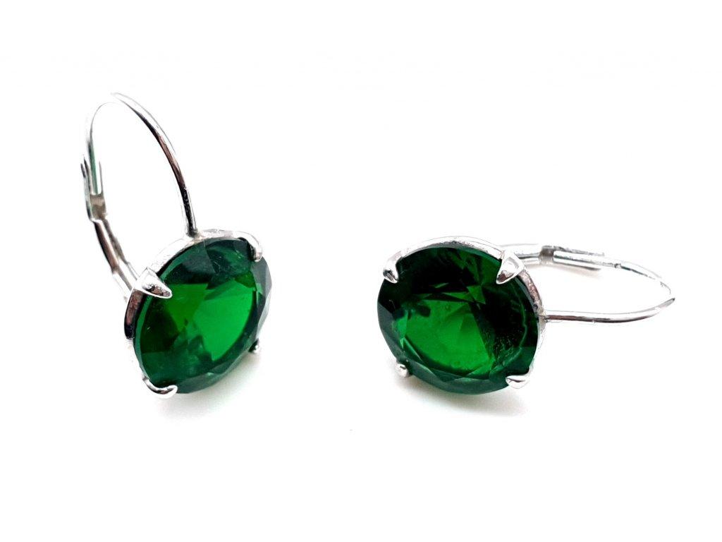 Klasické náušnice s dominantním zeleným kamenem
