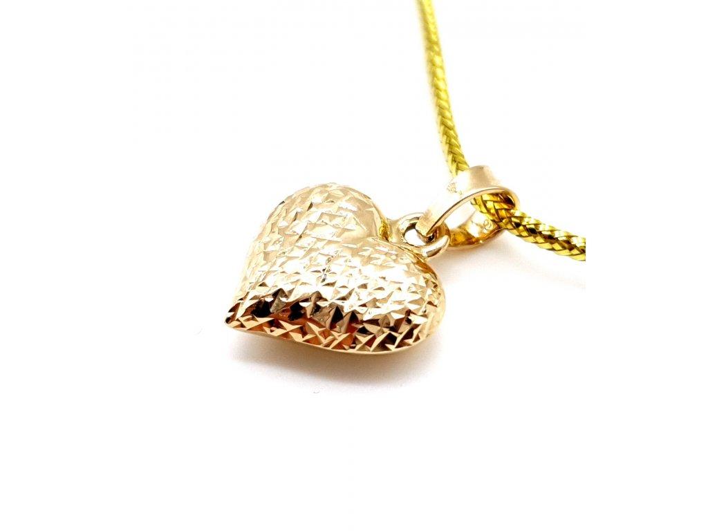 Zlaté srdce s dvojí povrchovou úpravou
