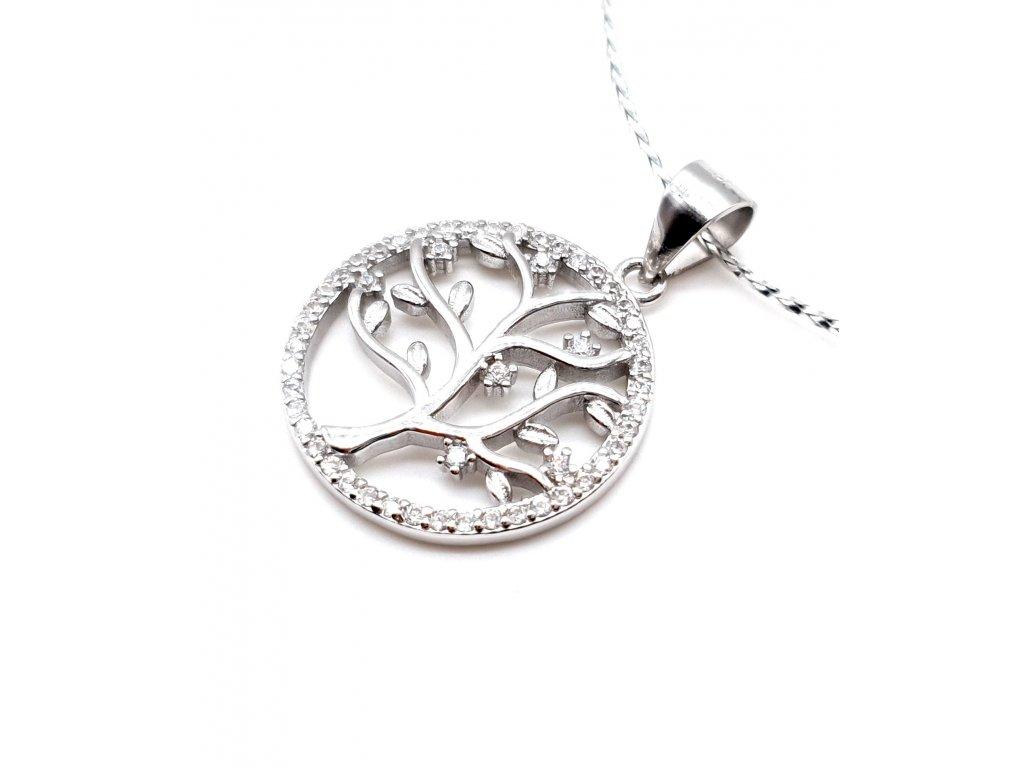 Stříbrný přívěsek - strom života zdobený zirkony
