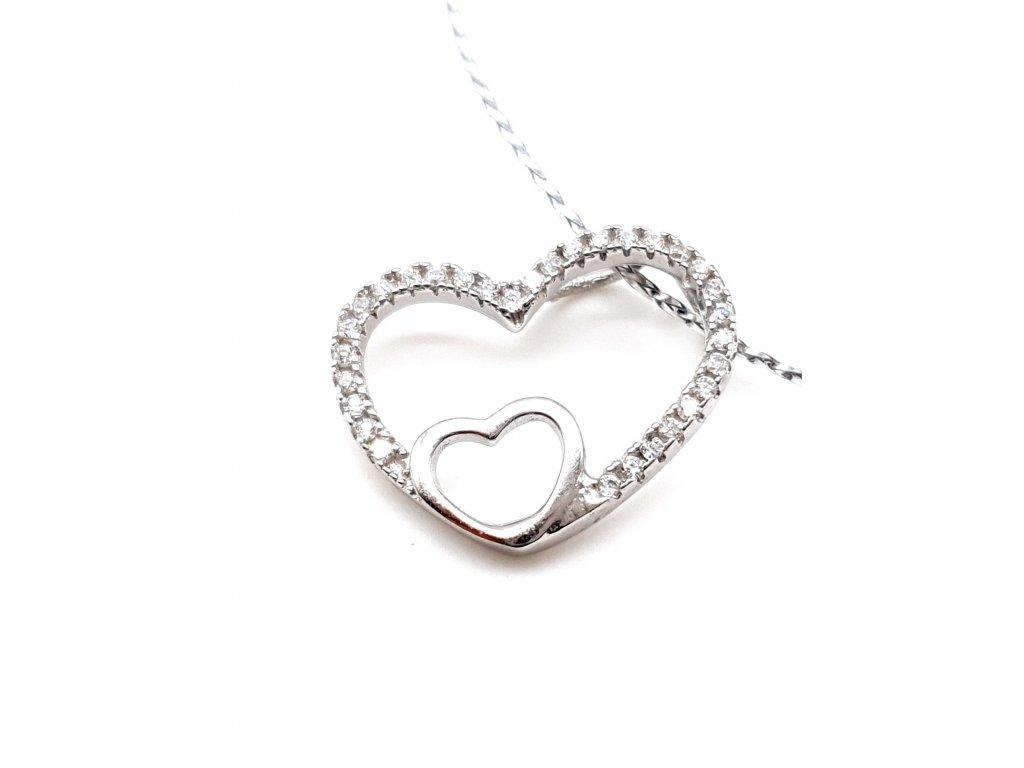 Stříbrný přívěsek - velké srdce s malým srdcem zdobeným zirkony
