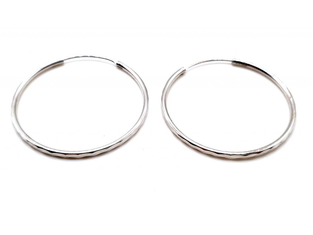Geometrické stříbrné kruhové náušnice - 4cm