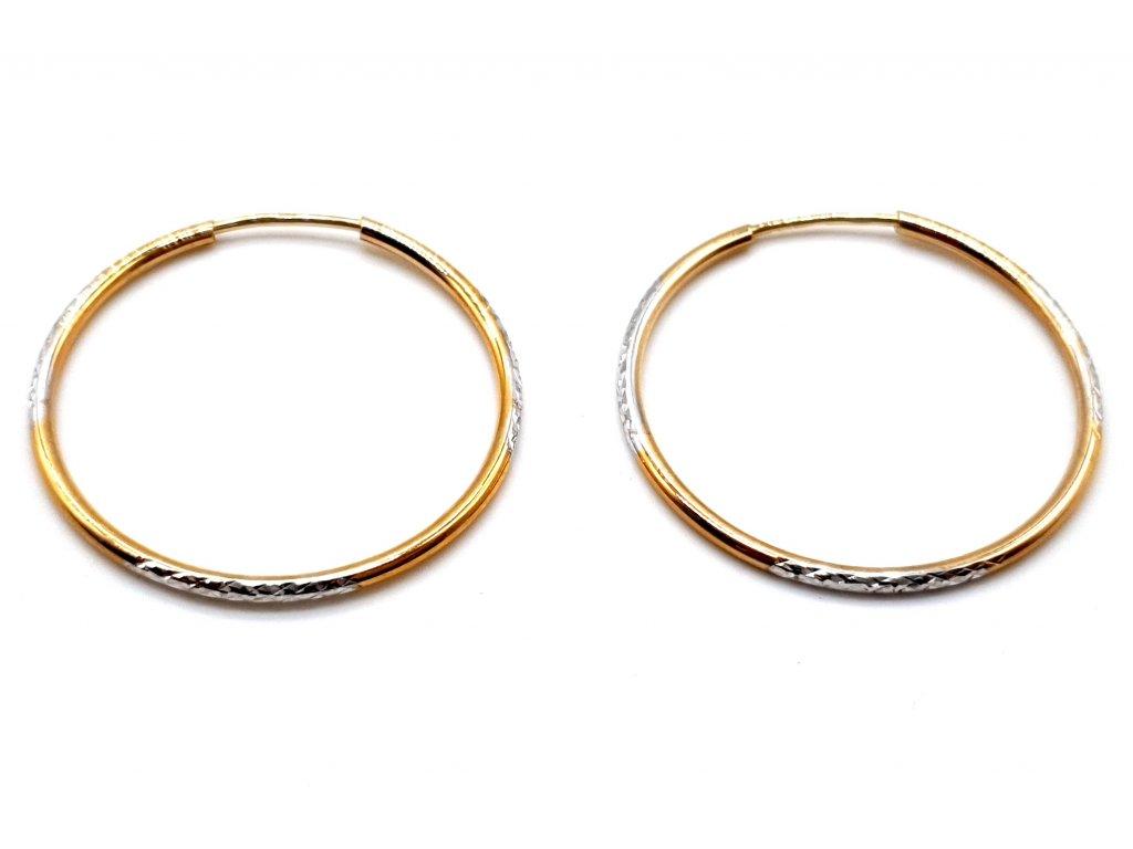 Elegantní bicolour kruhové náušnice z bílého a žlutého zlata - 2,5 cm