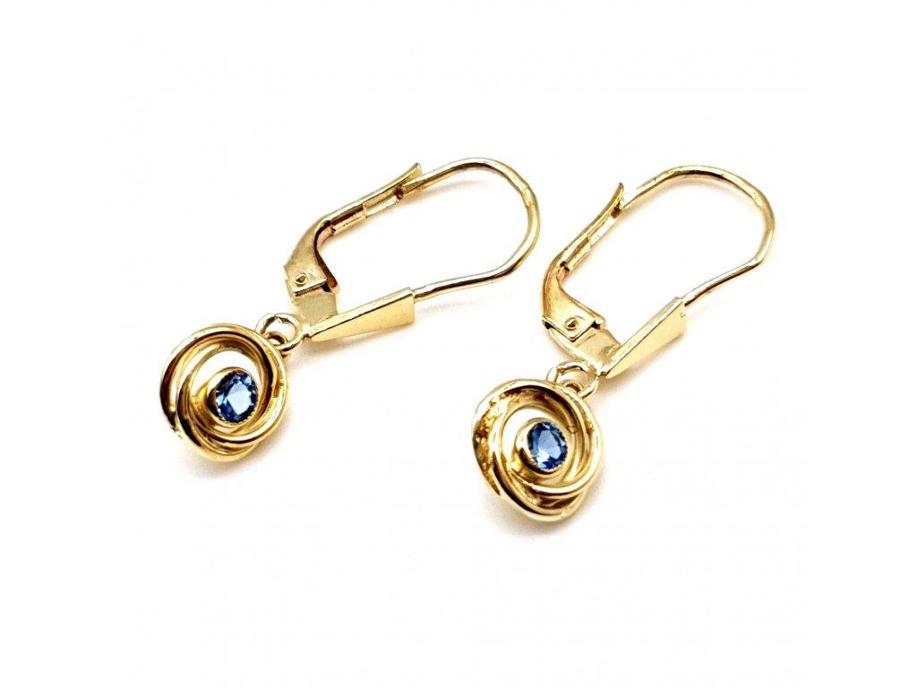 Spirálové visací náušnice ze žlutého zlata s modrým kamenem