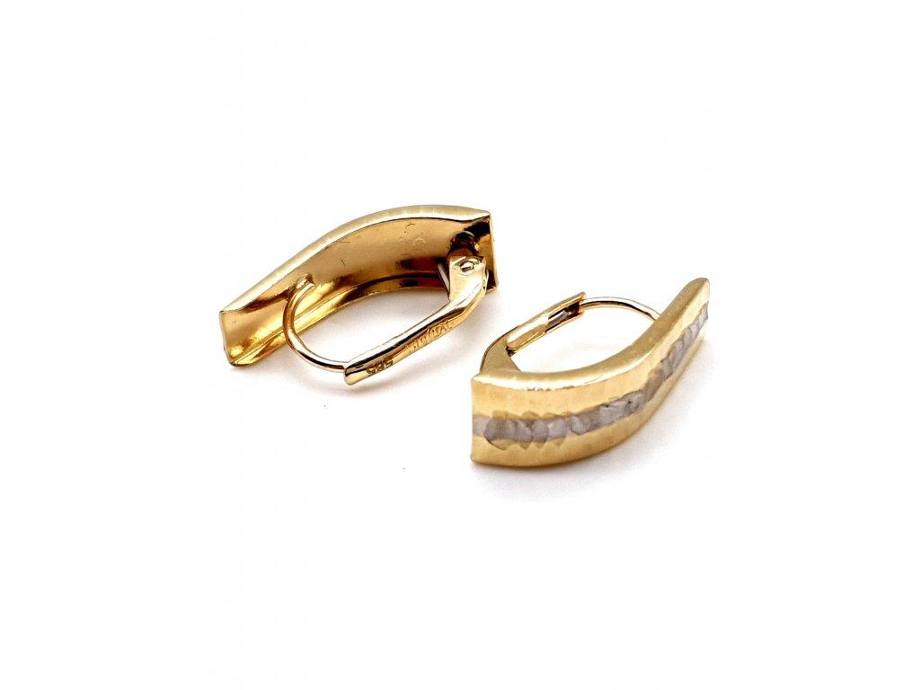 Zlaté bi-colour náušnice s matným provedením
