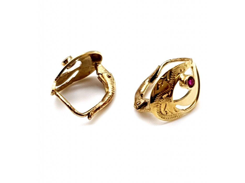Klasické náušnice ze žlutého a růžového zlata zdobené rubínem