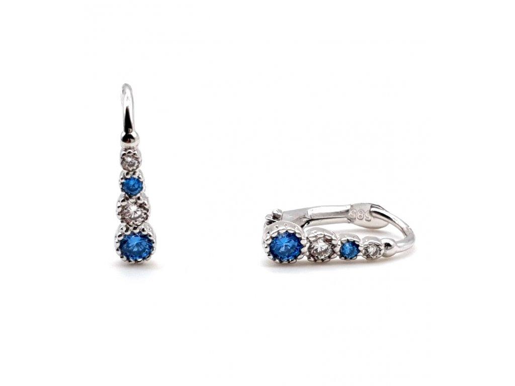 Elegantní náušnice zdobené světle modrými a bílými zirkony