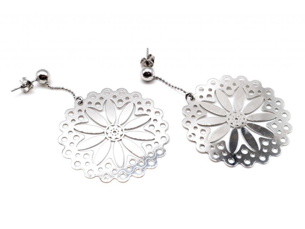 Stříbrné náušnice ve tvaru květiny