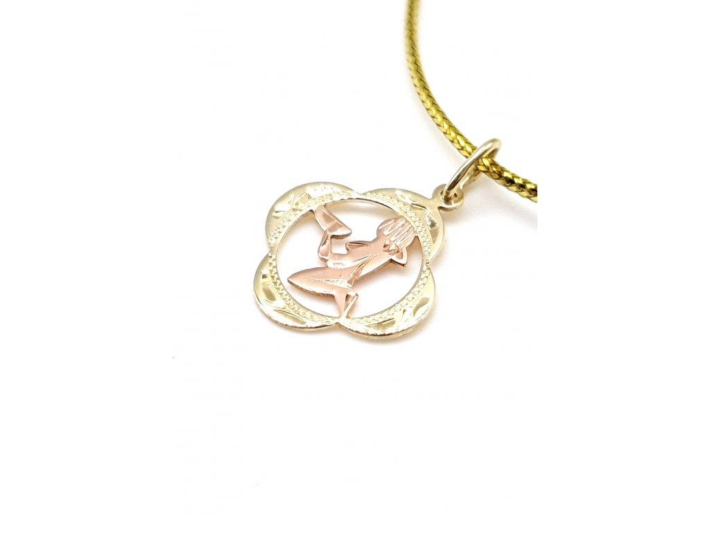 Elegantní zlatý přívěsek - znamení Panna