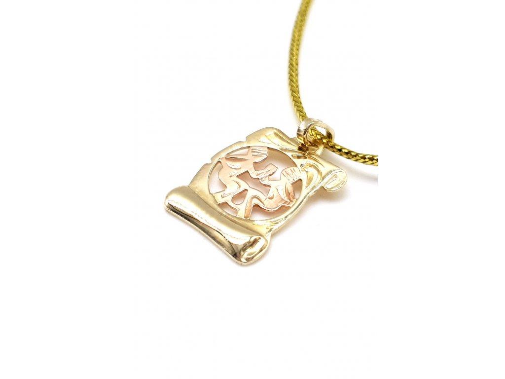 Zlatý přívěsek ve tvaru pergamenu - znamení Blíženci