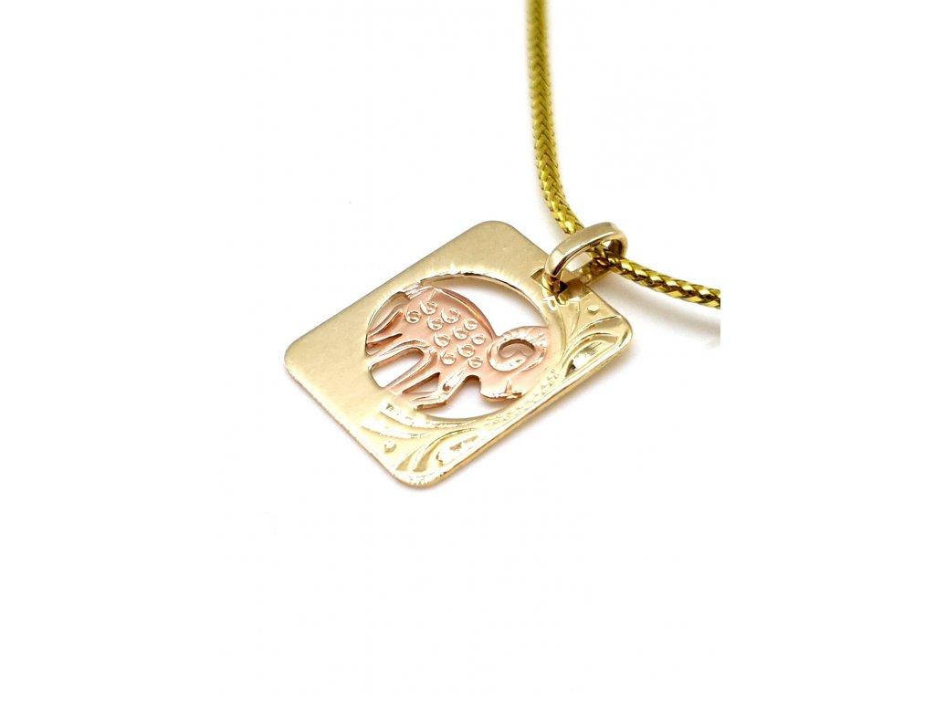 Zlatý přívěsek ve tvaru destičky - znamení Beran