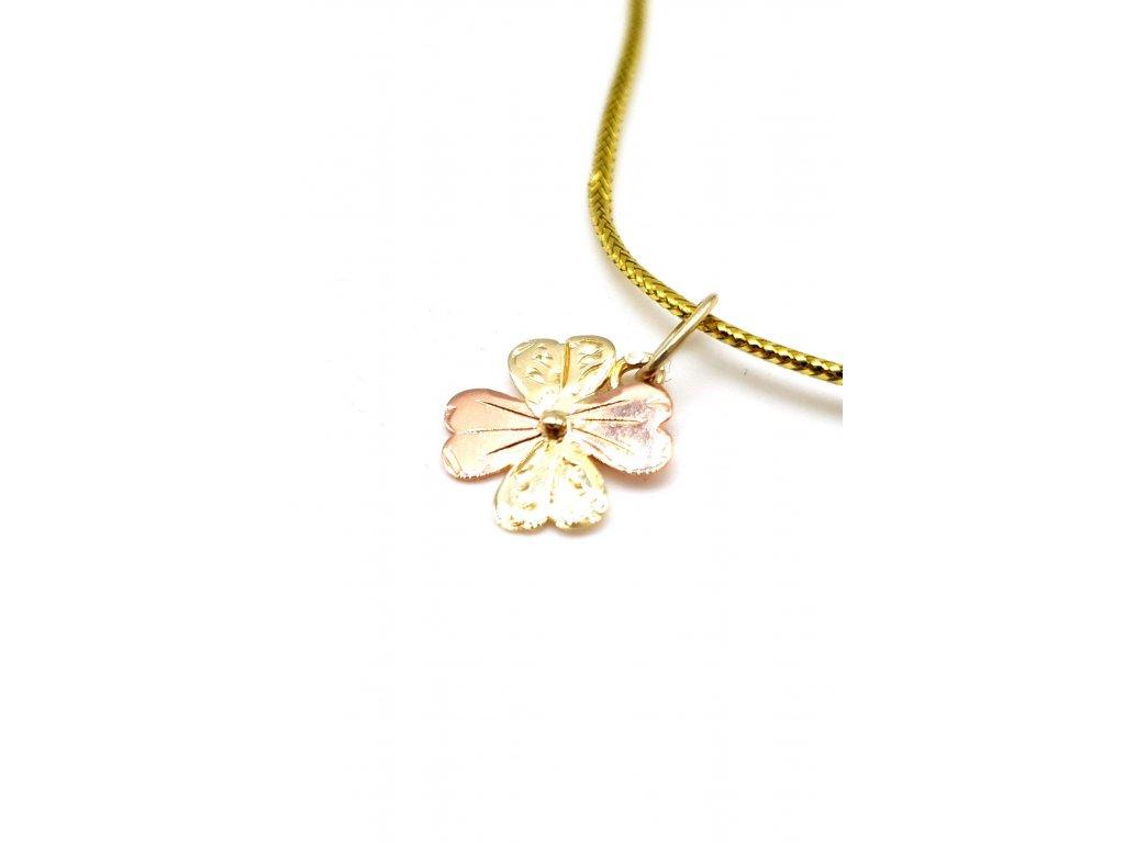 Čtyřlístek z růžového a žlutého zlata