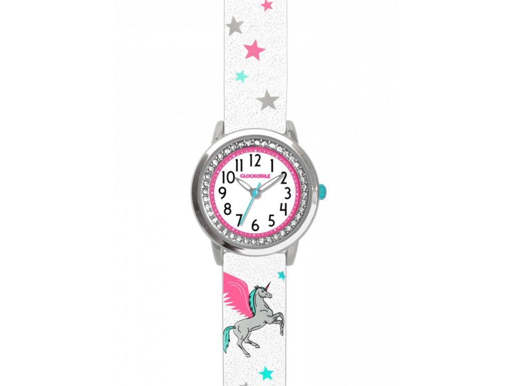 6759 bile trpytive divci detske hodinky s jednorozcem a kaminky clockodile unicorn