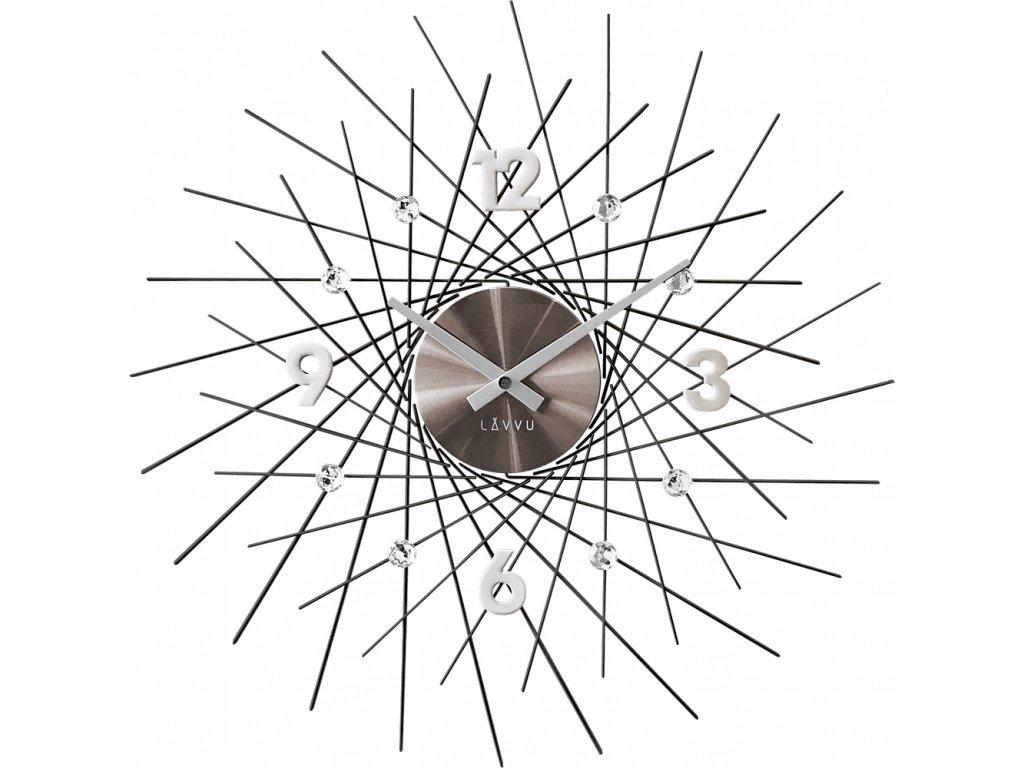 8658 cerne antracitove hodiny se stribrnymi detaily lavvu crystal lines