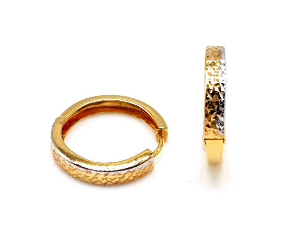 98352 elegantni bicolour kruhove nausnice z bileho a zluteho zlata 1 5 cm
