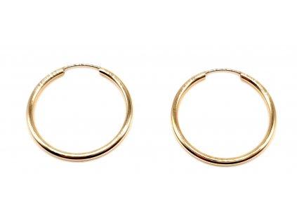 98379 hladke kruhove nausnice ze zluteho zlata 2 0cm