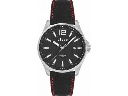 6732 panske hodinky se safirovym sklem lavvu nordkapp black top grain leather