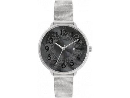 10194 stribrne damske hodinky minet prague black flower mesh s cisly