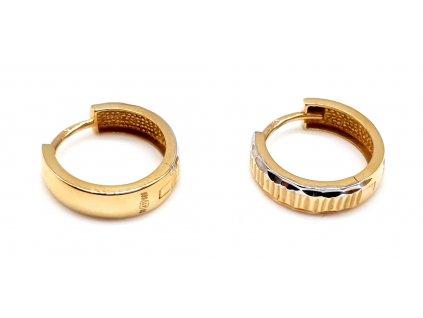 98394 zlate kruhove nausnice s okrajem z bileho zlata 1 0cm