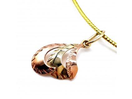 59730 bi color privesek ze zluteho a ruzoveho zlata