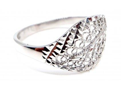 Celozlatý bílý prsten propletený (Velikost prstene 54 mm)