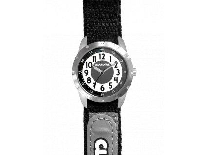 58362 2 cerne reflexni detske hodinky na suchy zip clockodile reflex