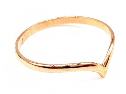 Decentní zlatý prsten z růžového zlata (Velikost prstene 51mm)