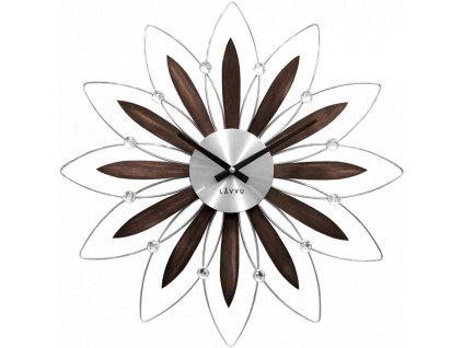 58491 2 drevene stribrne hodiny lavvu crystal flower