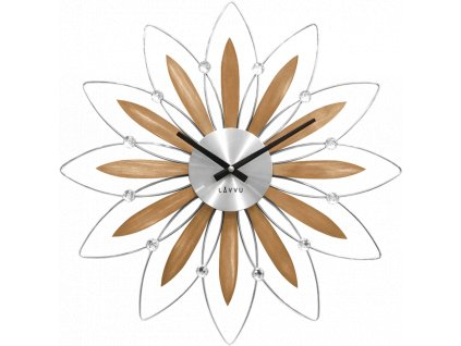 58497 2 drevene stribrne hodiny lavvu crystal flower