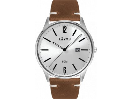 26211 elegantni panske hodinky lavvu karlstad silver brown top grain leather