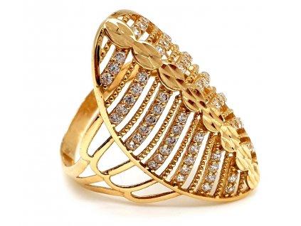 57360 masivni zlaty prsten posety radami zirkonu velikost 57mm