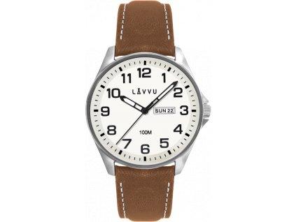 58785 2 ocelove panske hodinky lavvu bergen white top grain leather se sviticim ciselnikem