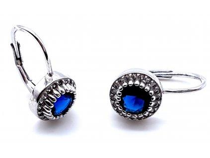 70128 ovalne stribrne nausnice zdobene zirkony s modrym kamenem