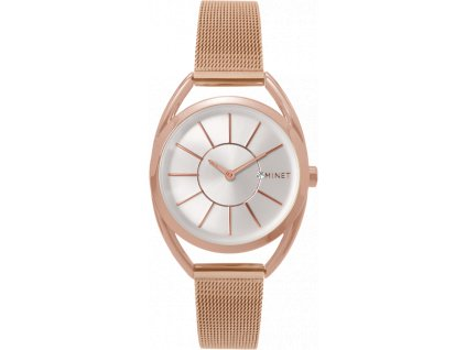 58935 6 ruzove damske hodinky minet icon rose gold mesh