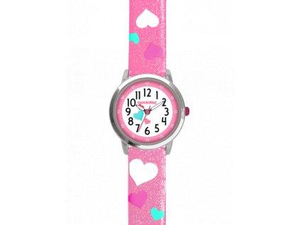 58998 2 ruzove trpytive divci hodinky se srdicky clockodile hearts