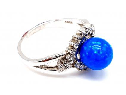 49260 stribny prsten s propletenou korunkou plnenou opalem