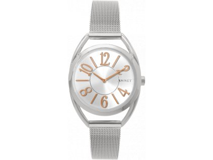 59061 3 stribrne damske hodinky s cisly minet icon silver mesh