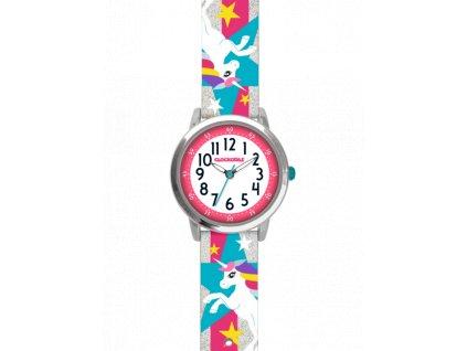 59160 2 stribrne trpytive divci hodinky s jednorozcem clockodile unicorns