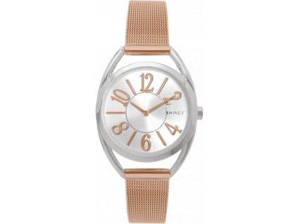 59190 3 stribrno ruzove damske hodinky minet icon bicolor mesh