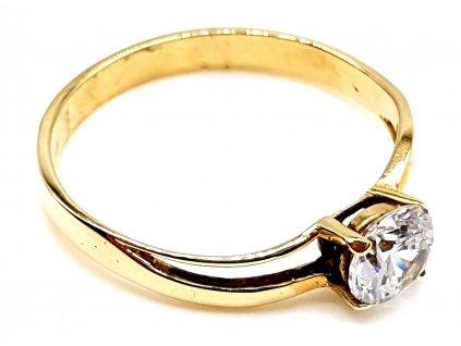 Zásnubí zlatý prsten s kubickým zirkonem (Velikost prstene 50mm)