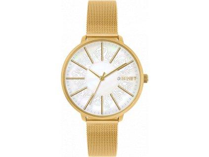 59631 3 zlate damske hodinky minet prague gold flower mesh