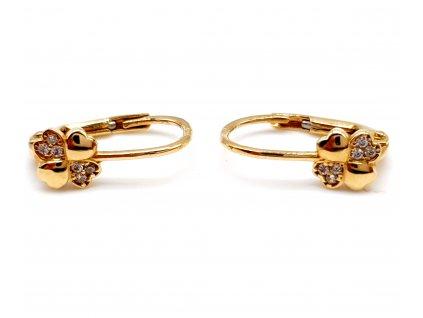 56322 zlate nausnice ve tvaru ctyrlistku zdobene zirkony