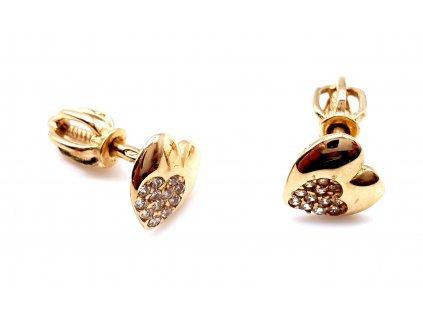 69978 zlate nausnice ve tvaru srdce na sroubek