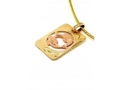 57171 zlaty privesek ve tvaru desticky znameni ryby