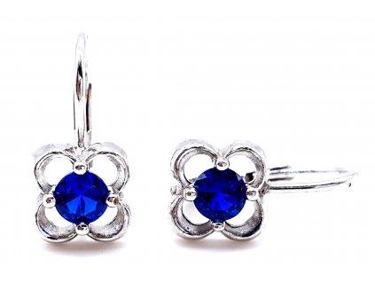 Stříbrné náušnice ve tvaru čtyřlístku s modrým kamenem