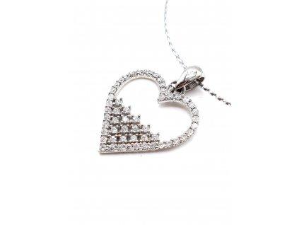 Přívěsek se srdcem z rhodiovaného stříbra