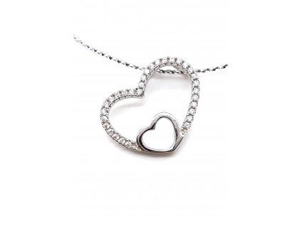 Přívěsek s dvojitým srdcem z rhodiovaného stříbra