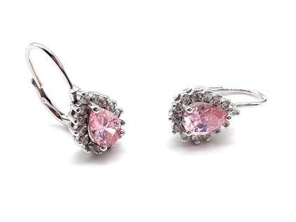 Elegantní náušnice s dominantním růžovým kamenem