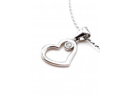 Zirkonové srdce z bílého zlata s drobným zirkonem