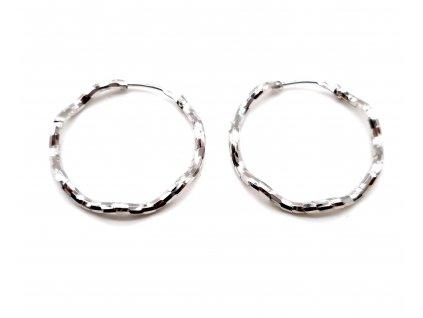 Vlnité stříbrné kruhové náušnice - 2,5 cm